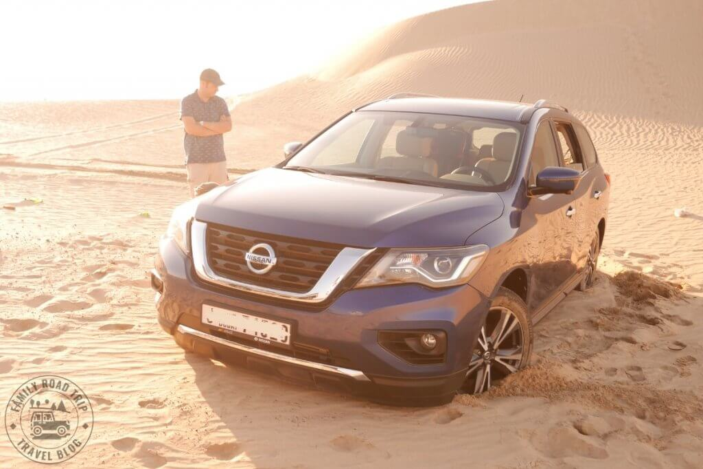 Car stuck in desert sand